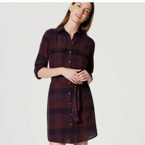 LOFT Maroon Plaid Tie Waist Flannel Dress Size XS